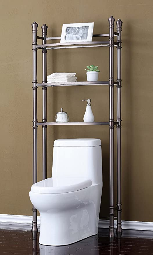 Amazon Com Best Living Monaco Bathroom Space Saver Etagere Shelf Brushed Titanium Home Kitchen