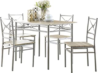 5-piece Rectangular Dining Set Brushed Silver and Taupe