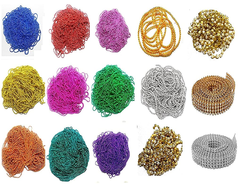 GOELX Ball Chains and Laces, Pearl Chain- Stone Chain Chains (15 Items) Combo Set-Very Useful Musthave Multicolor Chains Combo for Jewellery Making