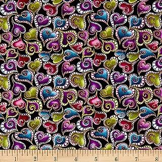 Benartex Cat-I-tude Swirling Hearts Metallic Black/Multi Fabric by the Yard