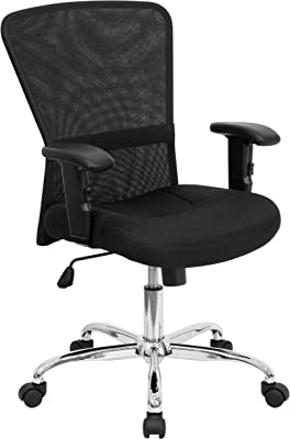 Flash Furniture Mid-Back Black Mesh Contemporary Swivel Task Office Chair with Chrome Base and Adjustable Arms