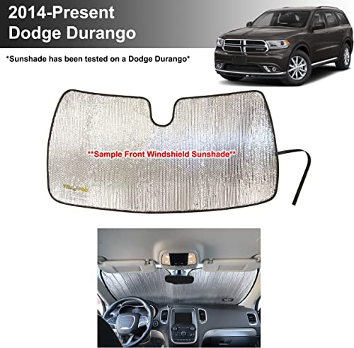 wholesale YelloPro Custom Fit Reflective Front Windshield Sunshade UV Reflector new arrival Sun Protection for 2014 2015 2016 2017 2018 2019 2020 2021 Dodge online Durango SUV, SXT Plus GT Citadel RT SRT Limited outlet sale