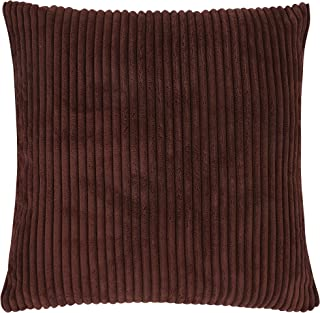 famibay Cushion Covers, Square Velvet Corduroy Throw Pillow Covers 22x22 Home Decorative Super Soft Striped Pillow Case Covers with Invisible Zipper for Sofa (Coffee)