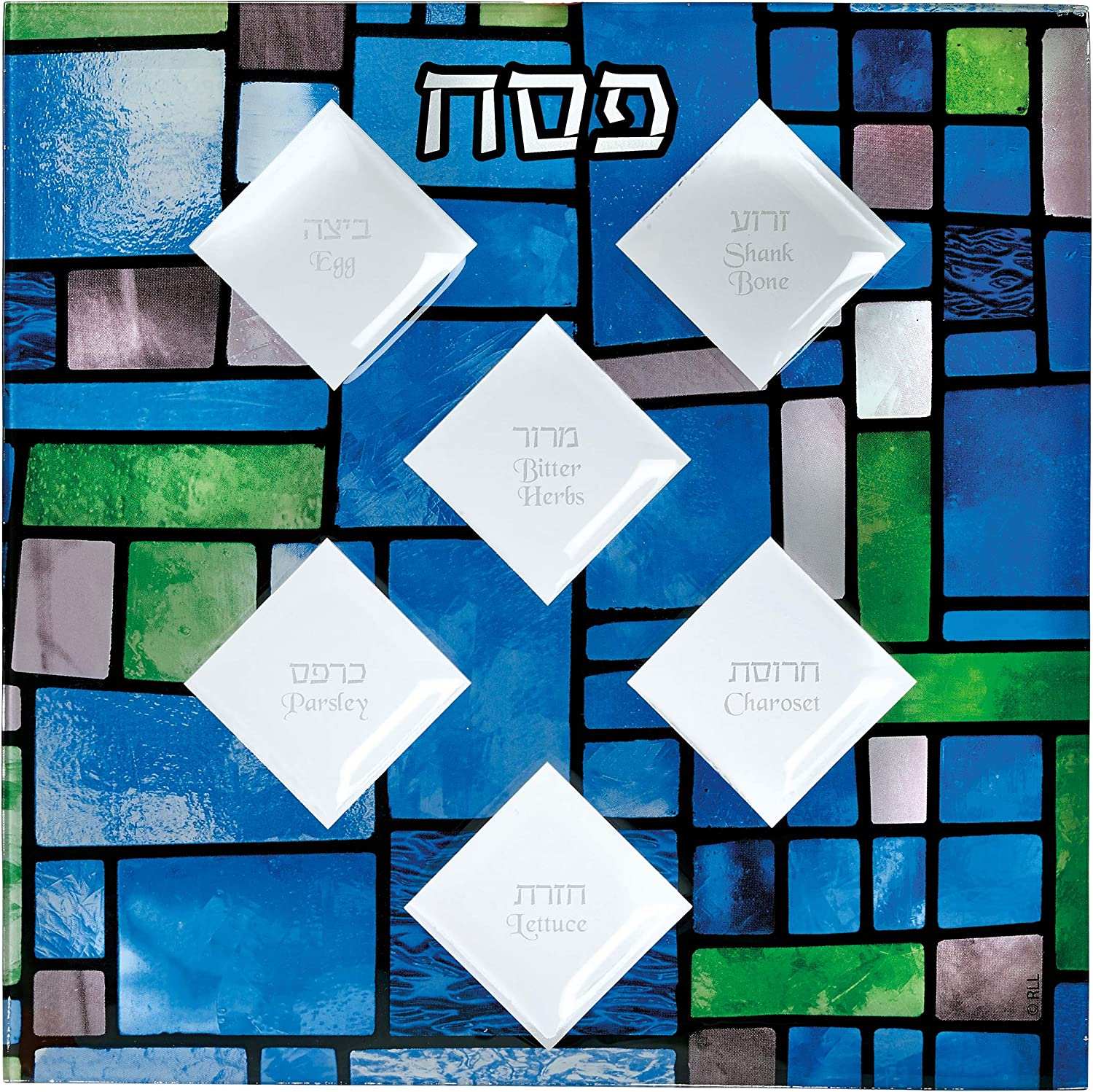 Rite Lite Ranking TOP6 Stained Glass Square Seder OFFicial store Plate
