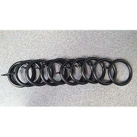 8 x Black chrome effect 16-19mm curtain rings . 2 x 4 pks