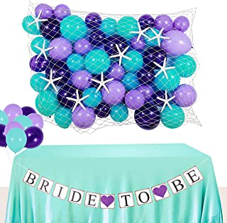 DOYOLLA Mermaid Bridal Shower Decoration Set, Starfish and Seashell Paper Garland, Bride to Be Bunting Banner, Fish net, Mermaid Color Balloons for Under the Sea Theme Wedding, Engagement, Bachelorette Party Supplies & Decor