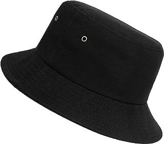 Sombrero del Pescador Algodón Plegable Bucket Hat Unisex Al Aire Libre Negro