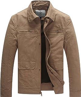 WenVen Men's Lightweight Jacket Casual Classic Military Coat