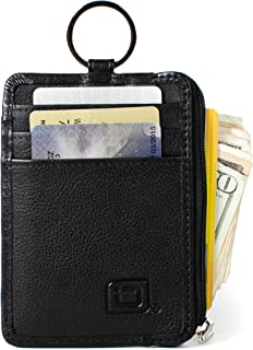 RFID Slim ID Wallet Card Holder - Key Ring Front Pocket Wallet with Coin Zipper