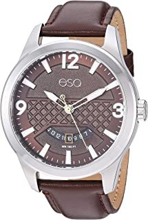 ESQ Men's Stainless Steel Watch w/ Leather Strap