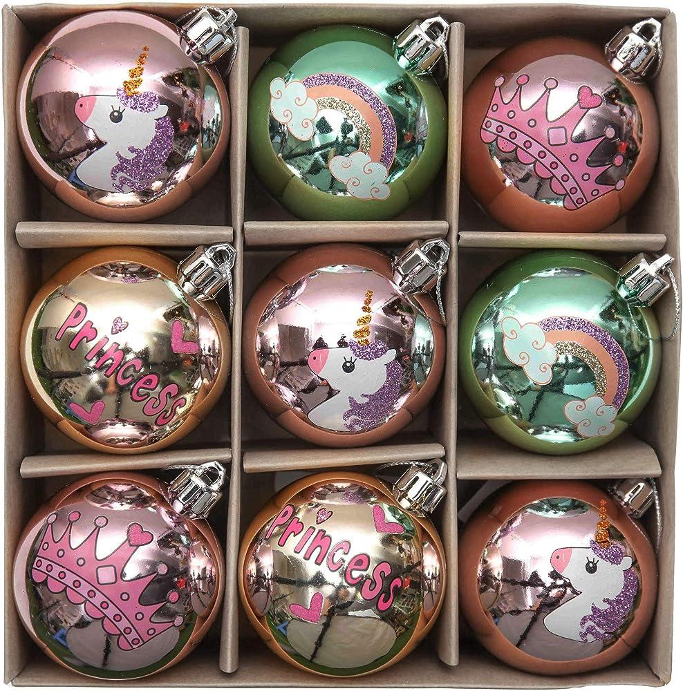 Valery madelyn palle di natale 9 pezzi infrangibili ricoperte di zucchero rosa e oro EG0101-0297