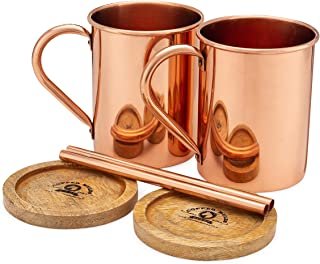Moscow Mule Copper Mugs Set of 2 by Copper Mules – HandCrafted - Smooth Finish - Classic Riveted Handles – Holds 16oz