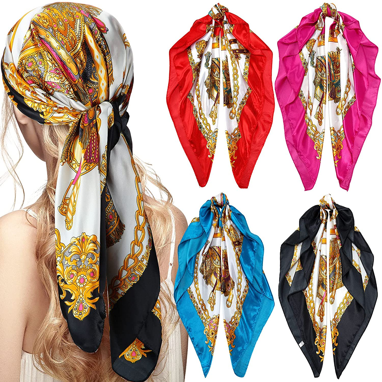 4 Pieces 35 Inch Satin Head Scarves Large Square Silky Feeling Headband Satin Boho Hair Bandanas for Women Girls (Stylish Series)