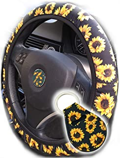 The Most Comfy Durable Sunflower Steering Wheel Cover for Women with Cute Sunflowers Quarter Keyring, Fashionable Boho Sunflower Car Accessories for Women, Top Girl Car Accessories