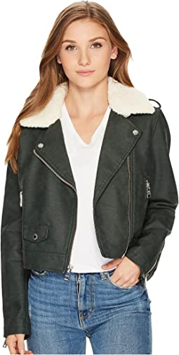 Asymmetrical Banded Bottom Moto with Sherpa Collar