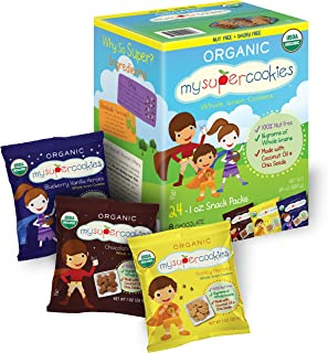 MySuperCookies Organic Whole Grain, Healthy Snacks for Kids � 24 Snack Packs, Peanut & Tree Nut Free, Kosher/Perfect for Valentine's Day, Class Parties and Birthdays