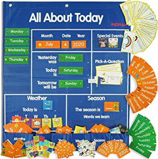 192 cards for classroom pocket chart with Daily School Calendar and Weather Pocket chart of Learning Resource for All about Today Activity Center, Morning Meeting with Space Saver Pocket Charts