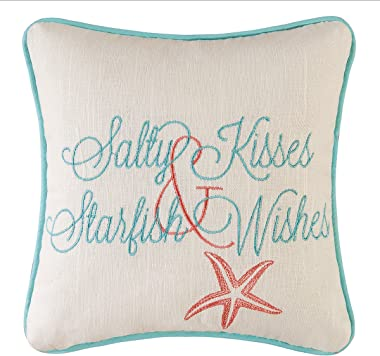 "C&F Home 10"" Embroidery Pillow, Salty Kisses Starfish Wishes Decorative Throw Pillow for Sofa Couch or Bed 10 x 10 Mu"