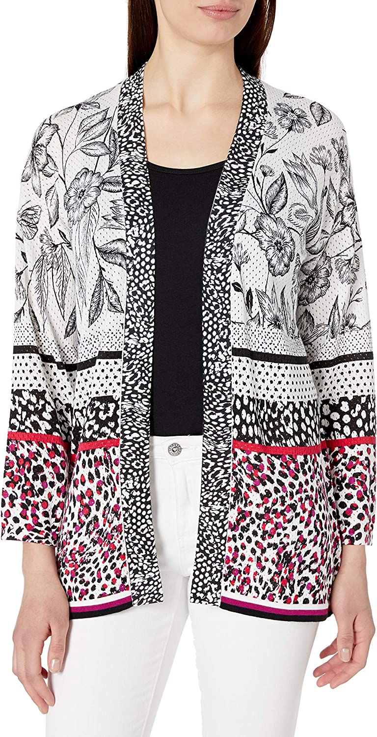 Foxcroft Women's Florence Open Front Mixed Print Cardigan