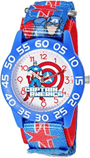 Marvel Boy's 'Captain America' Quartz Plastic and Nylon  Watch, Color:Blue (Model: W003211)