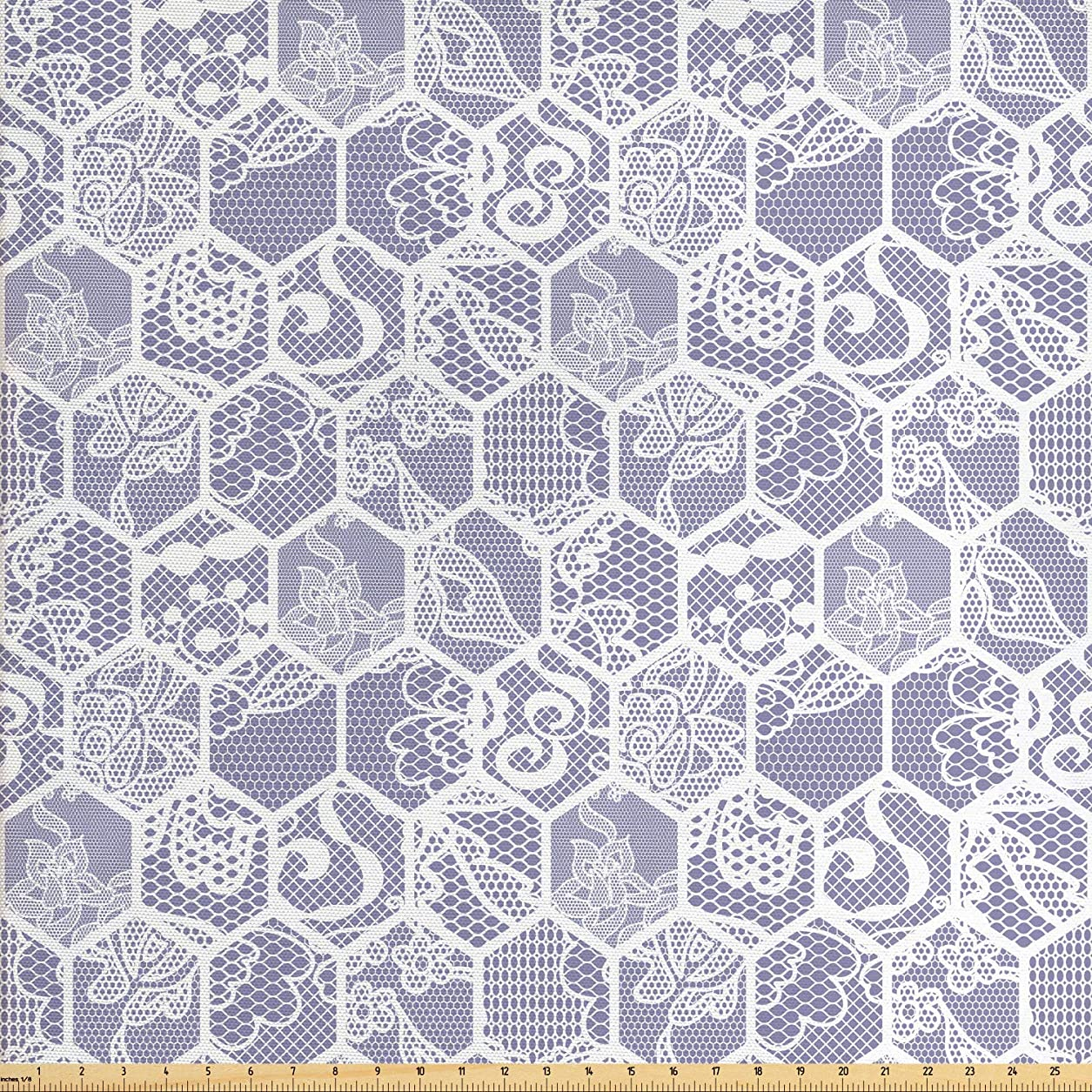 Lunarable Mauve and White Fabric by The Yard, Honeycomb Mesh Pattern with Lace Style Floral Antique Ornaments Print, Decorative Fabric for Upholstery and Home Accents, 1 Yard, Mauve White ewi17327522