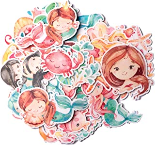 Navy Peony Happy Mermaid Stickers and Fish Decals (60 Pieces) | Sea Animal Stickers for Party Favors and Scrapbooks | Cute...