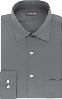 Van Heusen Men's Dress Shirts Regular Fit Lux Sateen Stretch Solid