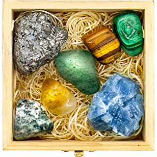 Premium Grade Crystals and Healing Stones for Abundance and Prosperity in Wooden Box - Malachite, Pyrite, Citrine, Aventurine, Blue Calcite, Tree Agate, Tiger`s Eye Gemstones + Info Guide, Gift Kit