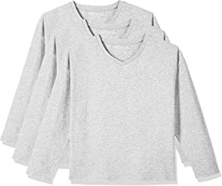 Kid Nation Kids 3 Pack and 2 Pack Lightweight Solid Long Sleeve V Neck T-Shirts for Boys or Girls