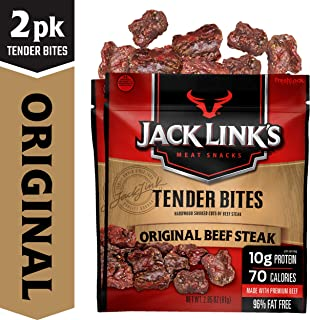 Jack Link's Beef Tender Bites, Original Beef Steak, 2.85 oz Bag, Pack of 2 – On-the-Go, Poppable Meat Snack, Good Source of Protein, Made with 100% Beef, 10g of Protein Per Serving