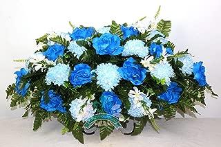 Beautiful XL Artificial Blue Mixture Cemetery Flower Headstone Saddle Grave Decoration