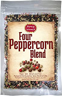 Four Peppercorn Rainbow Blend 8 oz – NON GMO, Steam Sterilized – Whole Black,..