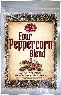 Four Peppercorn Rainbow Blend 8 oz - NON GMO, Steam Sterilized - Whole Black, Green, White & Pink Peppercorns - by Spicy World