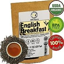 English Breakfast Tea, CRISP, RICH & AROMATIC well-rounded loose leaf tea, 110+ cups, 8oz Organic Ceylon SINGLE ESTATE tea, 100% Harrington estate, OP grade tea, U.S.A. Processed & Quality Control