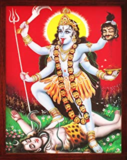 Handicraft Store Indian Goddess Maa Kali Killing Lord Shiva, a Hindu Religious Poster Painting with Frame for Worship