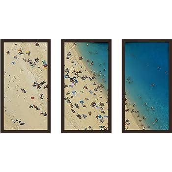 Picture Perfect International Beach Please XIV Framed Plexiglass Art Set of 3 Wall-Decor 17.5 W x 33.5 H x 1 D