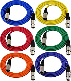 GLS Audio 1.8m x 0m Patch Cable Cords - XLR Male To XLR Female Colour Cables - 1.8m x 0m Balanced Snake Cord - 6 PACK