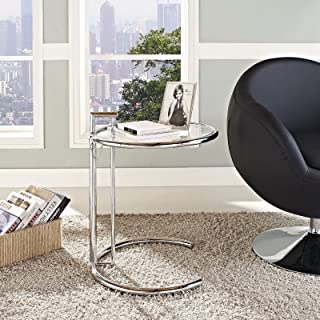 Modway Eileen Contemporary Modern Metal and Glass End Table, Side, Silver