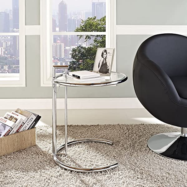 Modway Eileen Contemporary Modern Metal And Glass Side Table