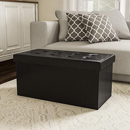Home-Complete Storage Ottoman-Faux Leather Rectangular Bench with Lid-Space Saving Furniture for Blankets, Shoes, Toys and More-Organizer Trunk, Black