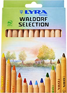 LYRA Waldorf Selection Giant Triangular Colored Pencil, Unlacquered, 6.25 Millimeter Cores, Assorted Colors, 12-Pack (3711121)