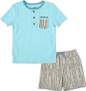 مجموعة ملابس للأولاد الصغار من تي شيرت قطني قصير