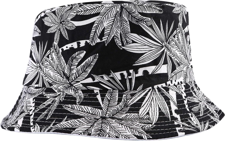 Unisex Funky Floral Plant Rainforest Print Canvas Bucket Hat Fishmen Cap for Women Men-24