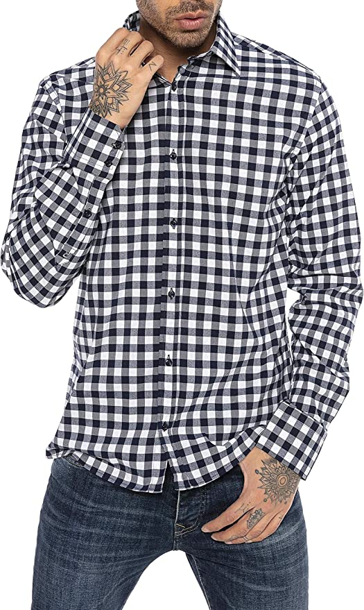 Red Bridge Camisa clásica a Cuadros Manga Larga de algodón para Hombre