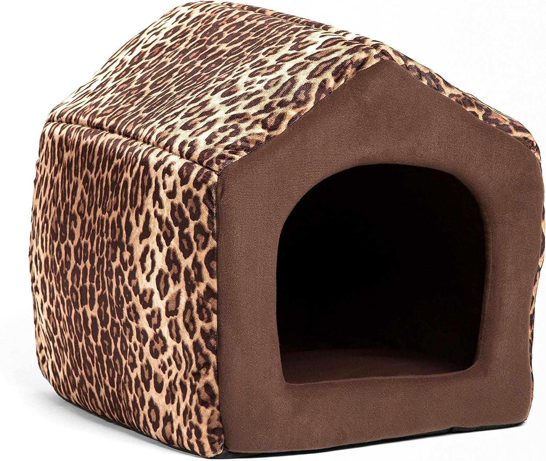 Best Friends by Sheri HSEZOOLBRMED 2in1 Pet HouseSofa in Zoo, Leopard Brown, Medium, 17  X 15  X 15 , Mini ( 12 lbs)