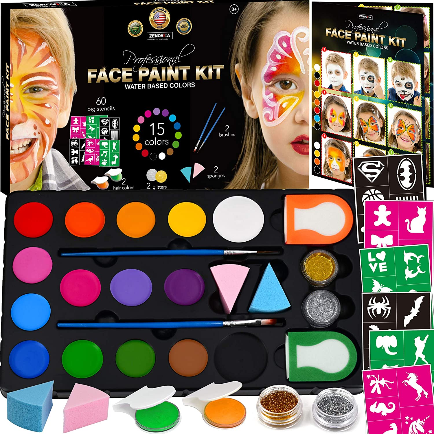 New sales Face Paint Kit for Kids - 60 Year-end annual account Jumbo Stencils 15 Large Base Water