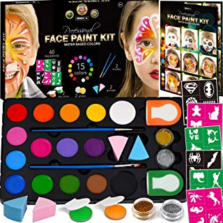 Face Paint Kit for Kids – 60 Jumbo Stencils, 15 Large Water Based Paints, 2..