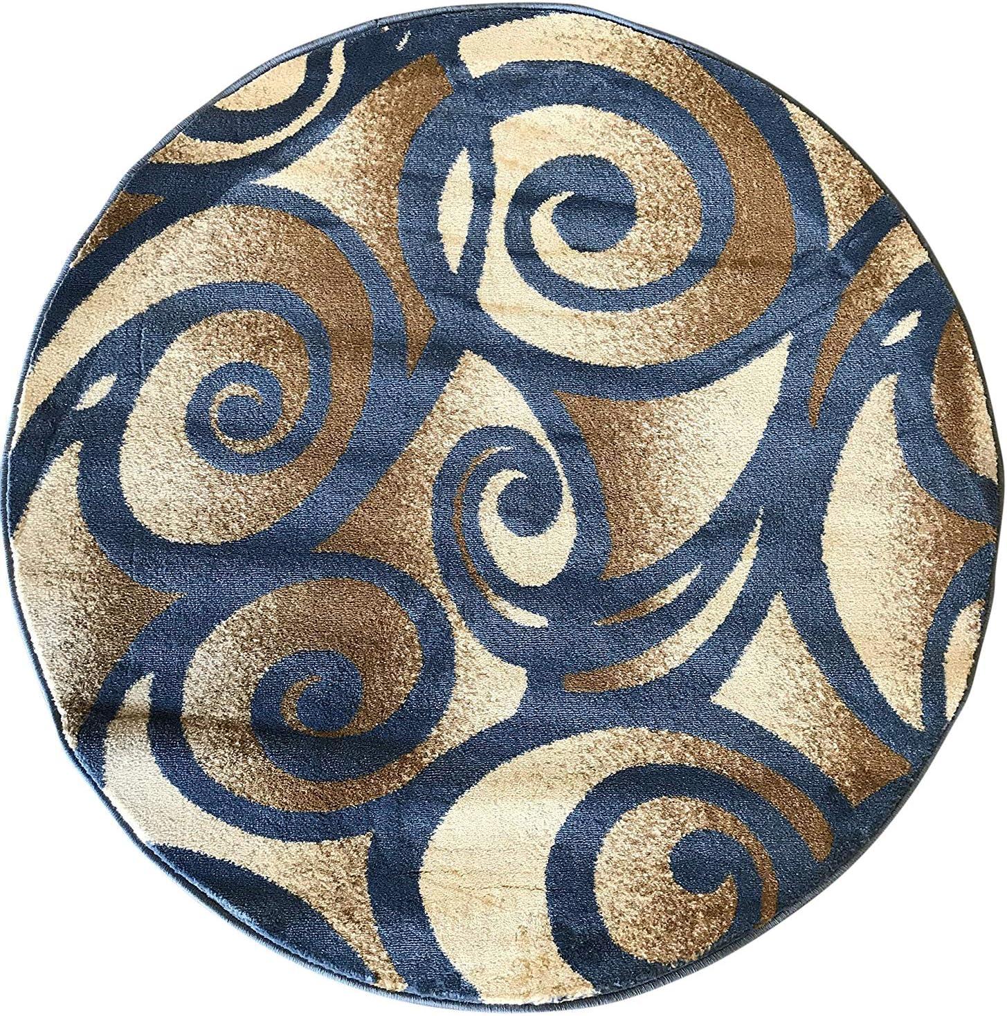 Modern Round Contemporary Area Rug Challenge the lowest price 341 Design Light Sale item Blue Bellagi
