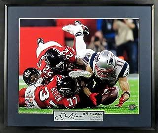 "New England Patriots Julian Edelman ""The Catch"" Super Bowl LI 16x20 Photograph (SG Signature Engraved Plate Series) Framed"
