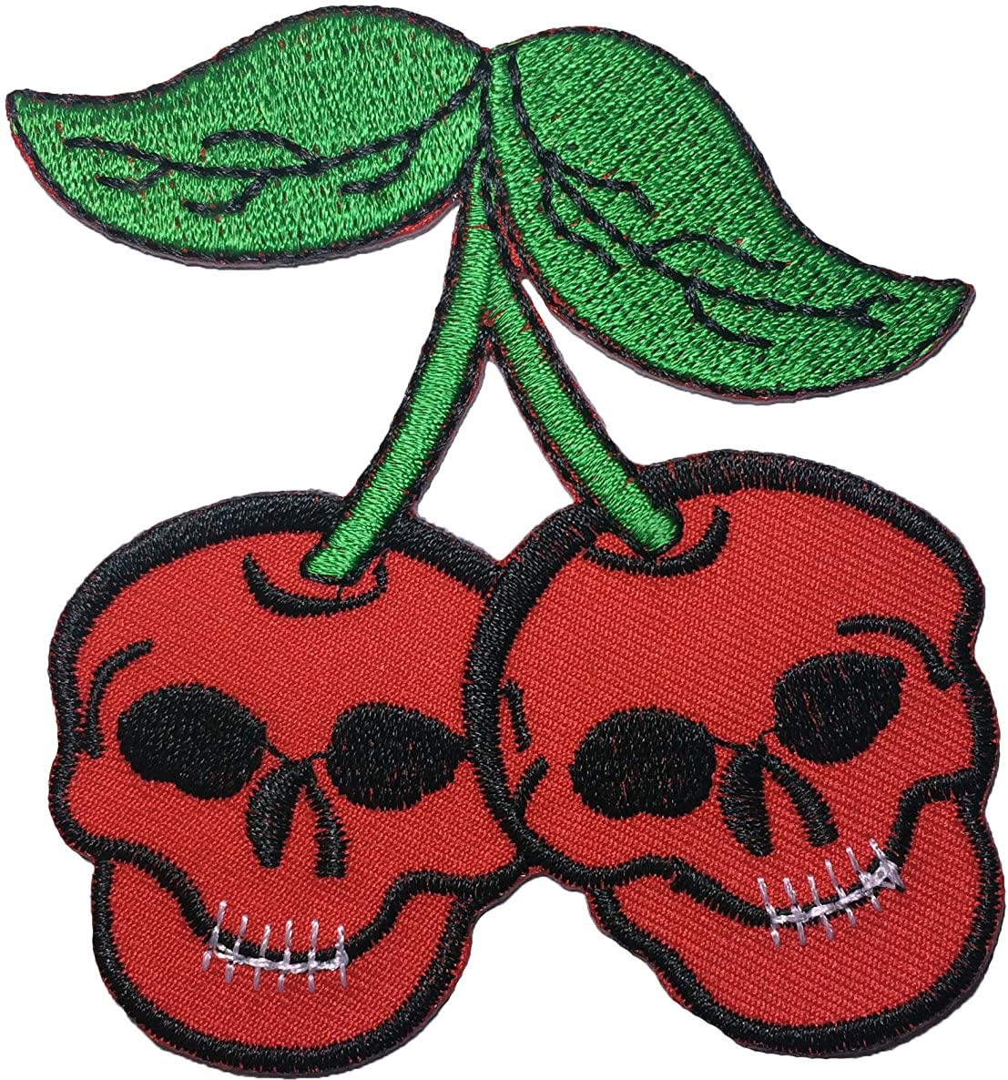 Papapatch Cherry Sugar Candy Ghost Skeleton Skull Punk Rock Heavy Metal Sew Iron on Embroidered Applique Badge Sign Patch (IRON-CHERRY-SKULL)